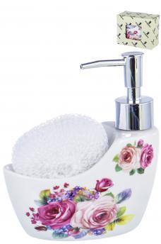 Емкость для жидкого мыла с подставкой под губку Party time «ЦВЕТОЧНОЕ УТРО» 280 мл